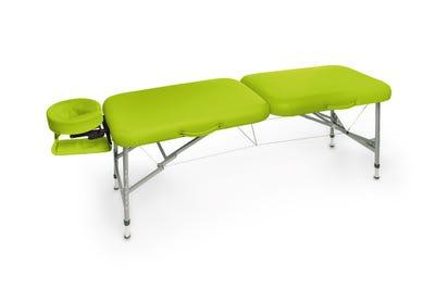 Koffer Massagebank Aluminium lime