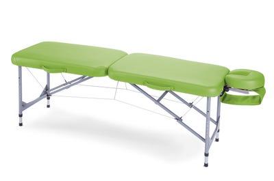 Koffer Massagebank Aluminium, lime